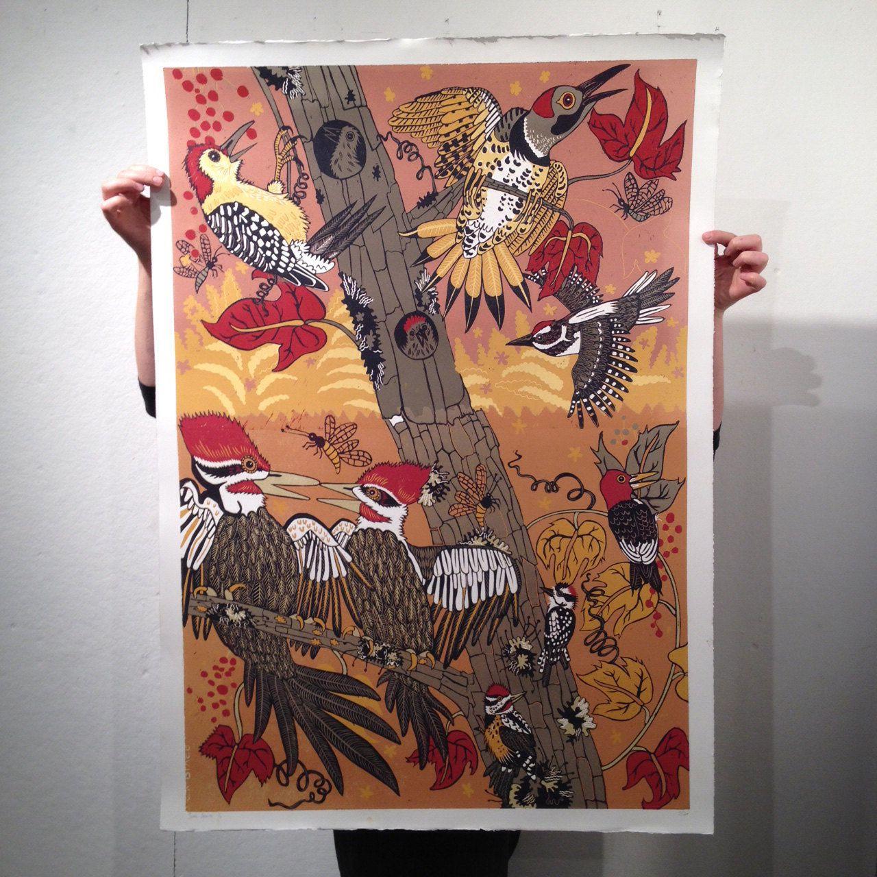 Large Woodpecker woodcut showing seven species of birds by jpopstudios on Etsy