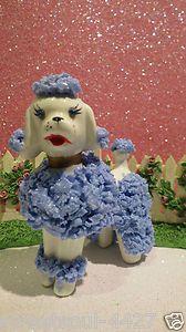 Vin Lefton Napco Blue Spaghetti Pom Pom Poodle w Blue Rhinestone Eyes Cute | eBay