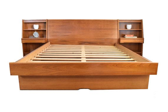 Best Danish Modern Teak Queen Platform Bed Mid Century Queen 640 x 480