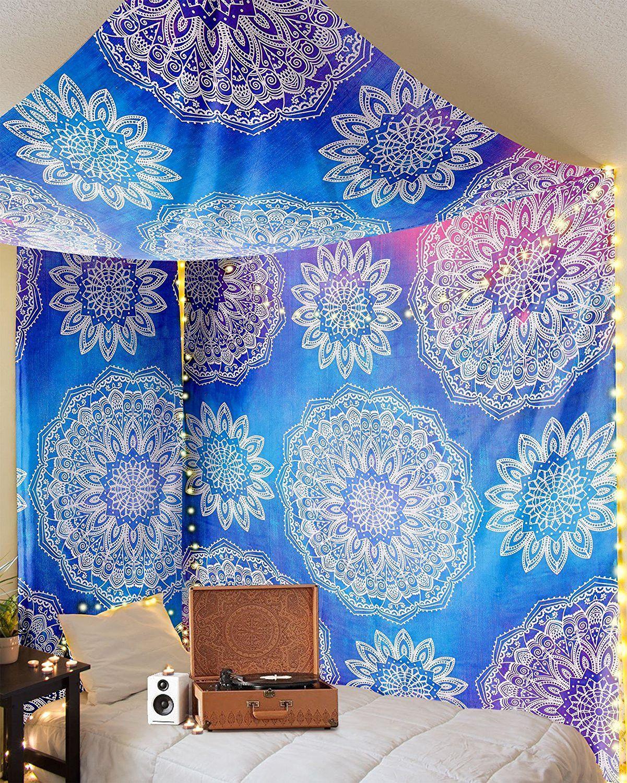 Mandala Madness Blue Bohemian Boho Tapestry