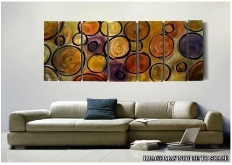 MUSIC OF THE SPHERES XL- HUGE MODERN ABSTRACT JEWEL TONED METAL WALL ...