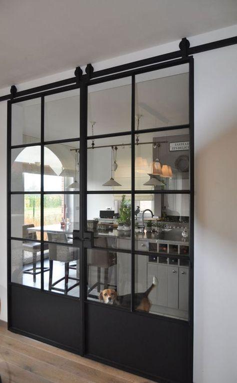 Photo of LOFT FRENCH 03 DOUBLE Doppelschiebetür aus Stahl, Glas und Blech