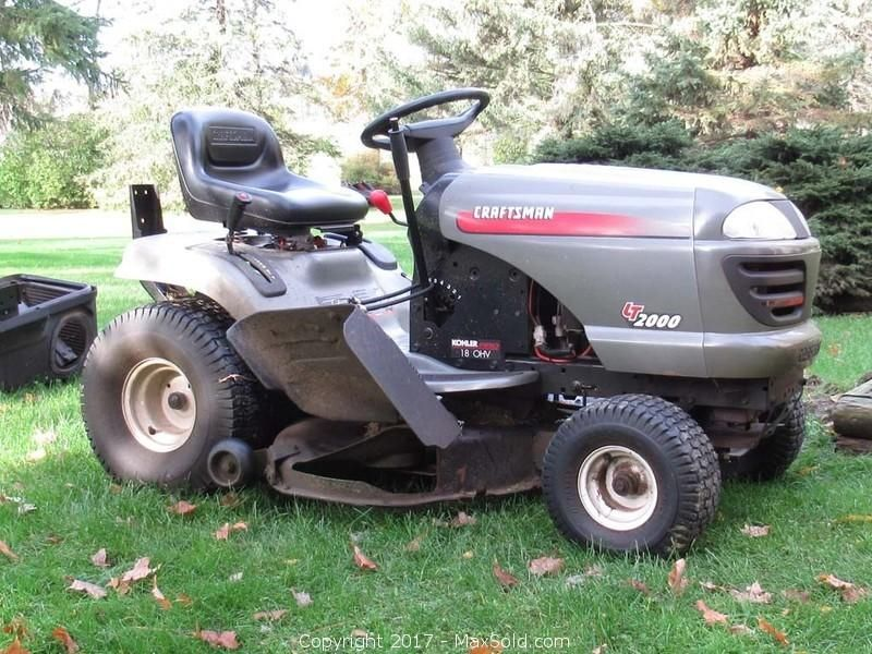 Craftsman Lt2000 Lawn Tractor Sold By Maxsold In An Estate Online Auction In Napanee Lawn Tractor Outdoor Power Equipment Riding Lawnmower