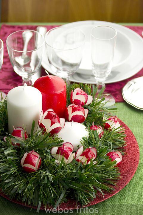 Centro de mesa con rabanitos  Ideas para Navidad  Table decorations Table y Appetizer buffet