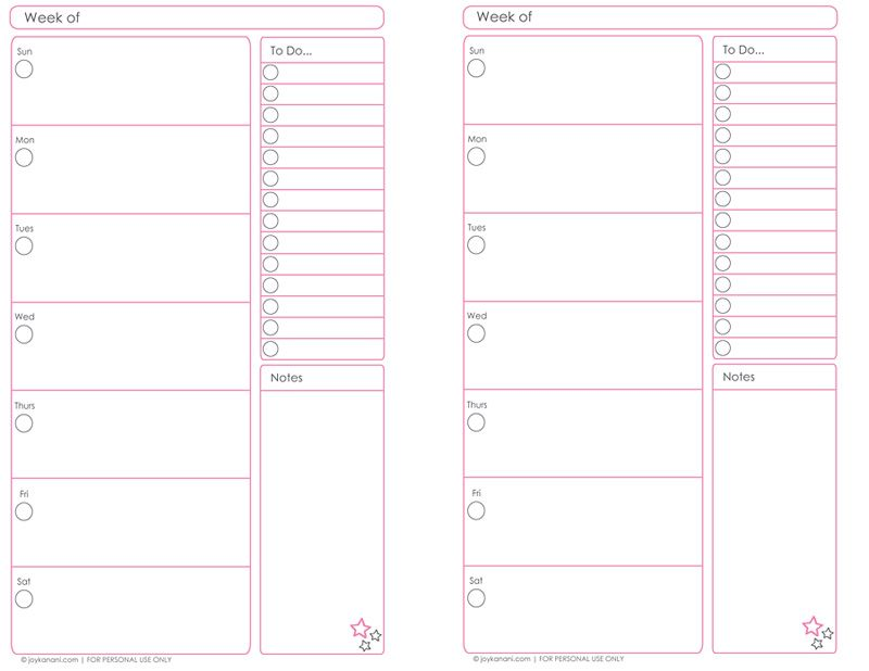 weekly planner pages