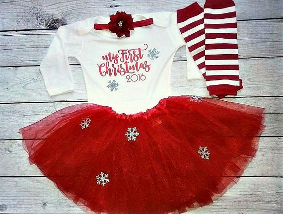 d216b7fcc3053 Baby girl christmas outfit My First Christmas by DaliceDesigns ...