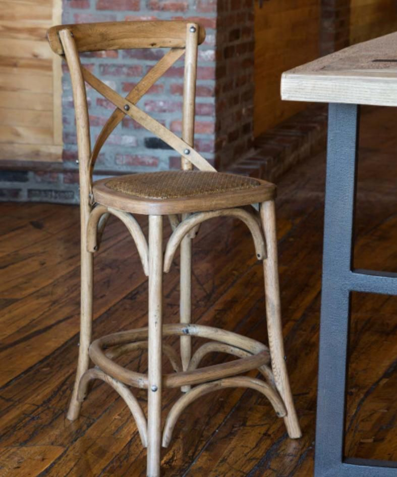 Wooden Cross Back Counter Stools Set Of Two In 2020 Counter