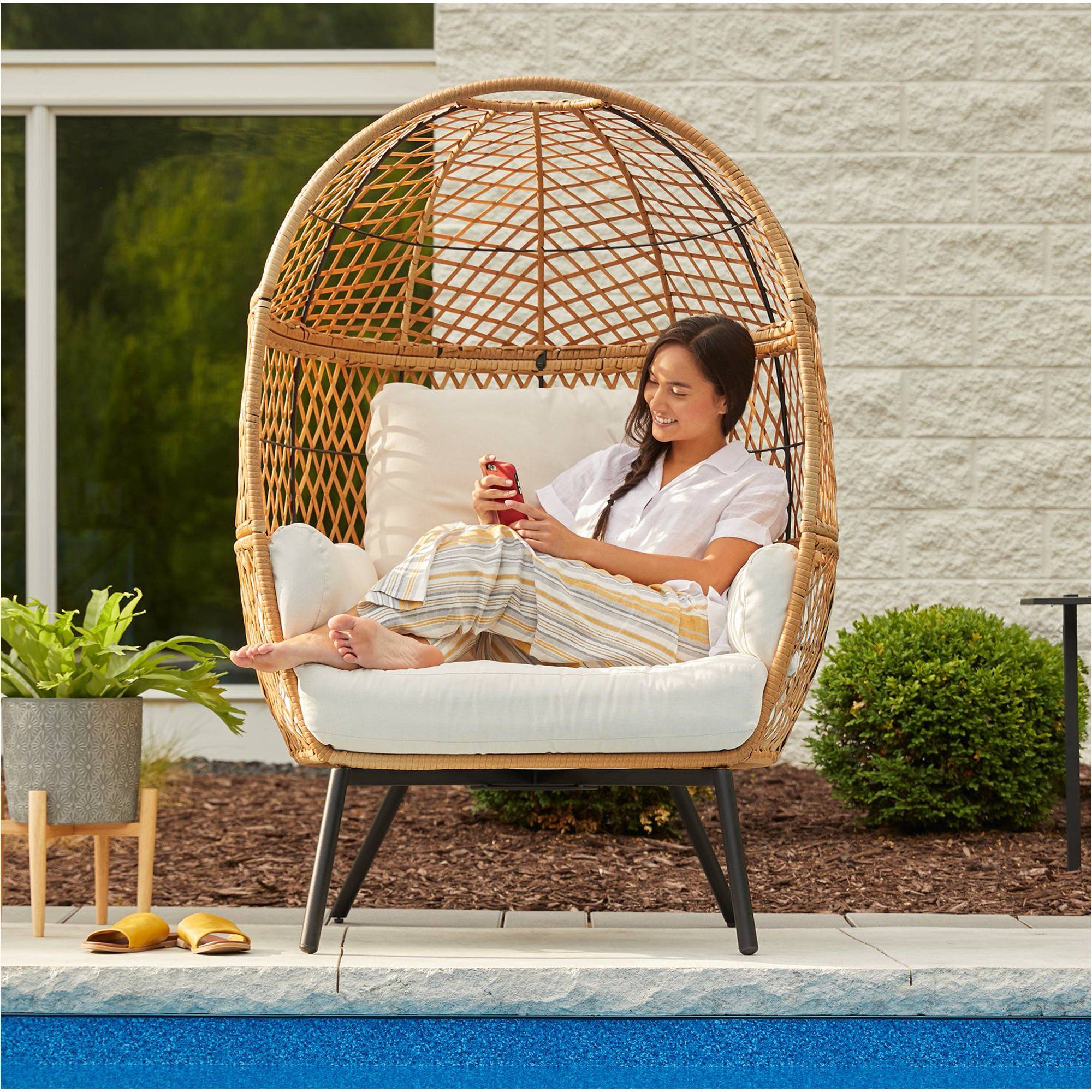 boho stationary wicker egg chair
