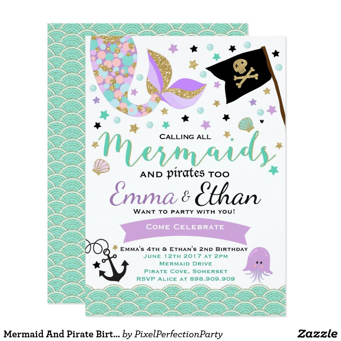 Mermaid And Pirate Birthday Invitation Joint Party | Pirate birthday ...
