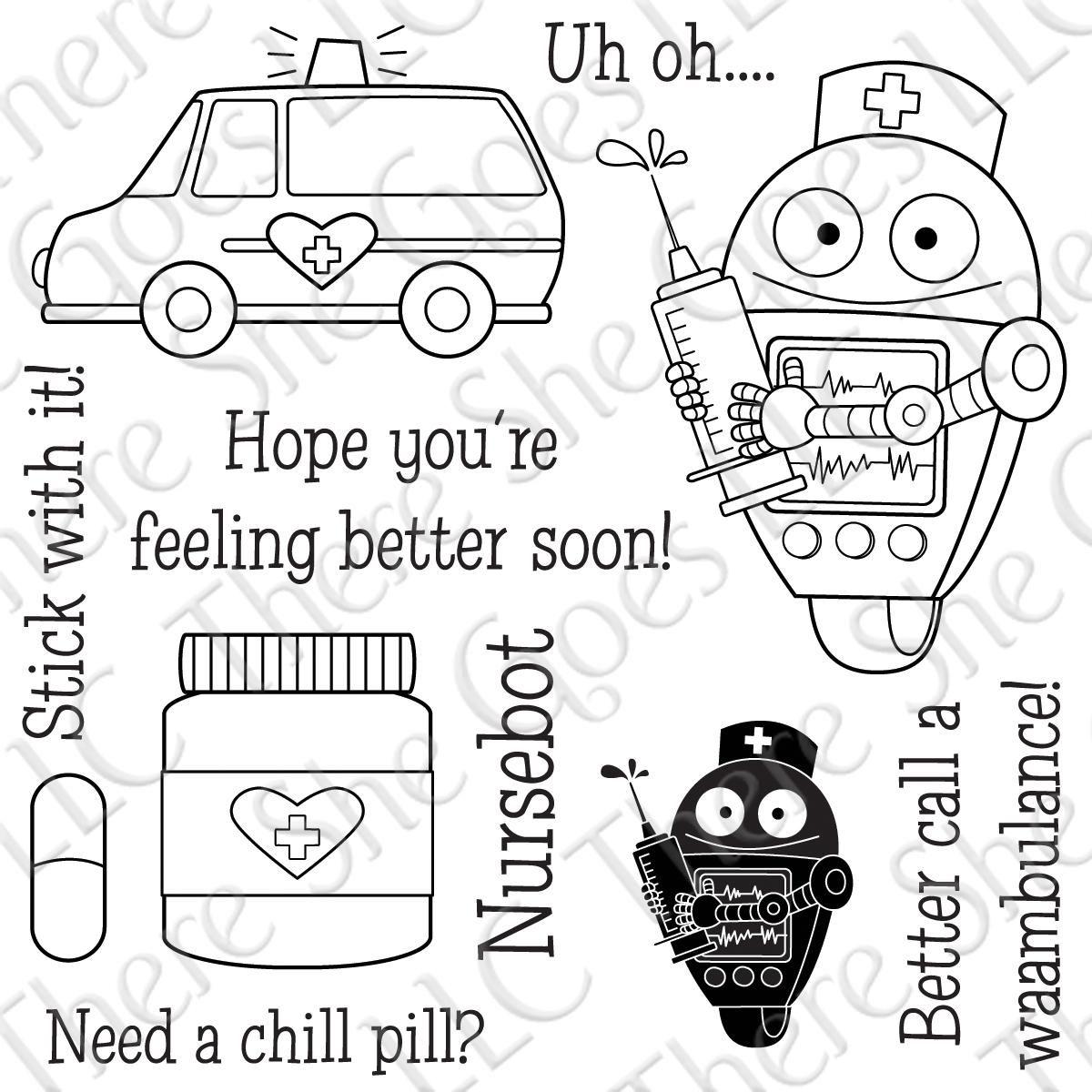 Nursebot   coloring 2   Nurse art, Hope youre feeling ...