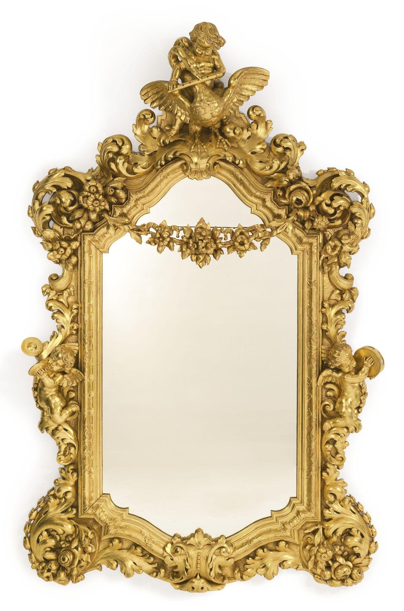 Espejo estilo rococ tallado de madera dorada continental for Disenos de espejos tallados en madera
