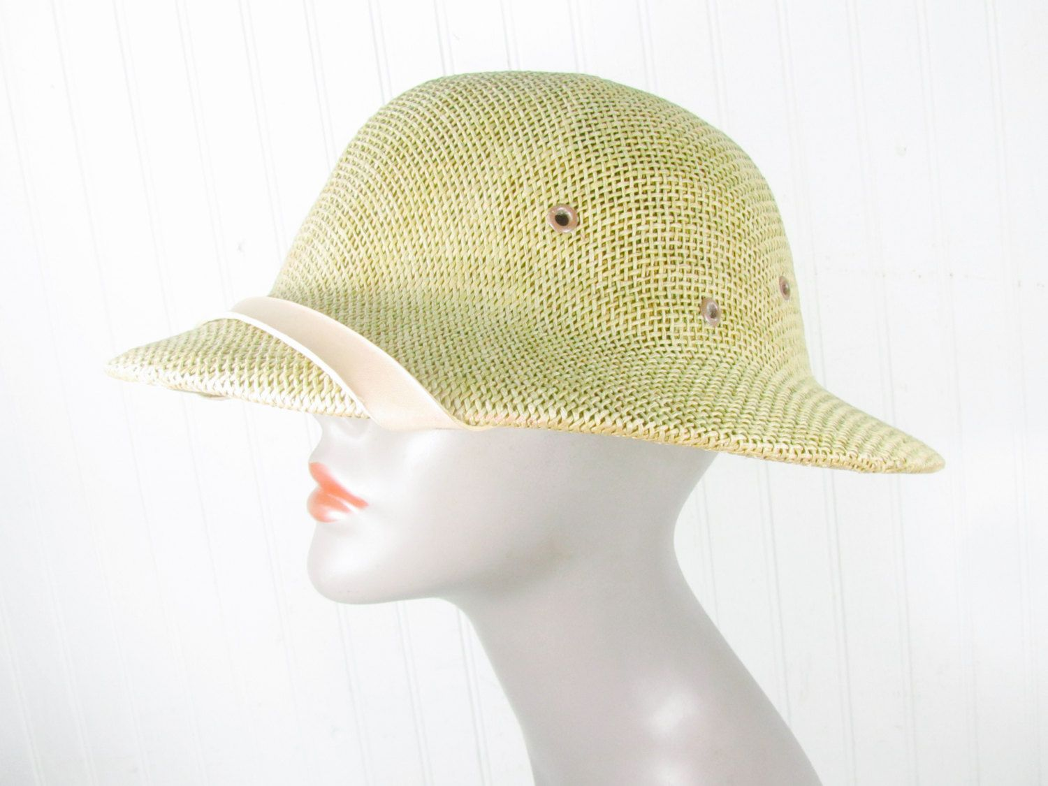 44f48beecf5536 Vintage Hat,hard hat,straw hat, pith helmet,safari Hat,Mens Hat, Hat,1950s  fashion, sun hat,photo prop,movie by KarensChicNShabby on Etsy