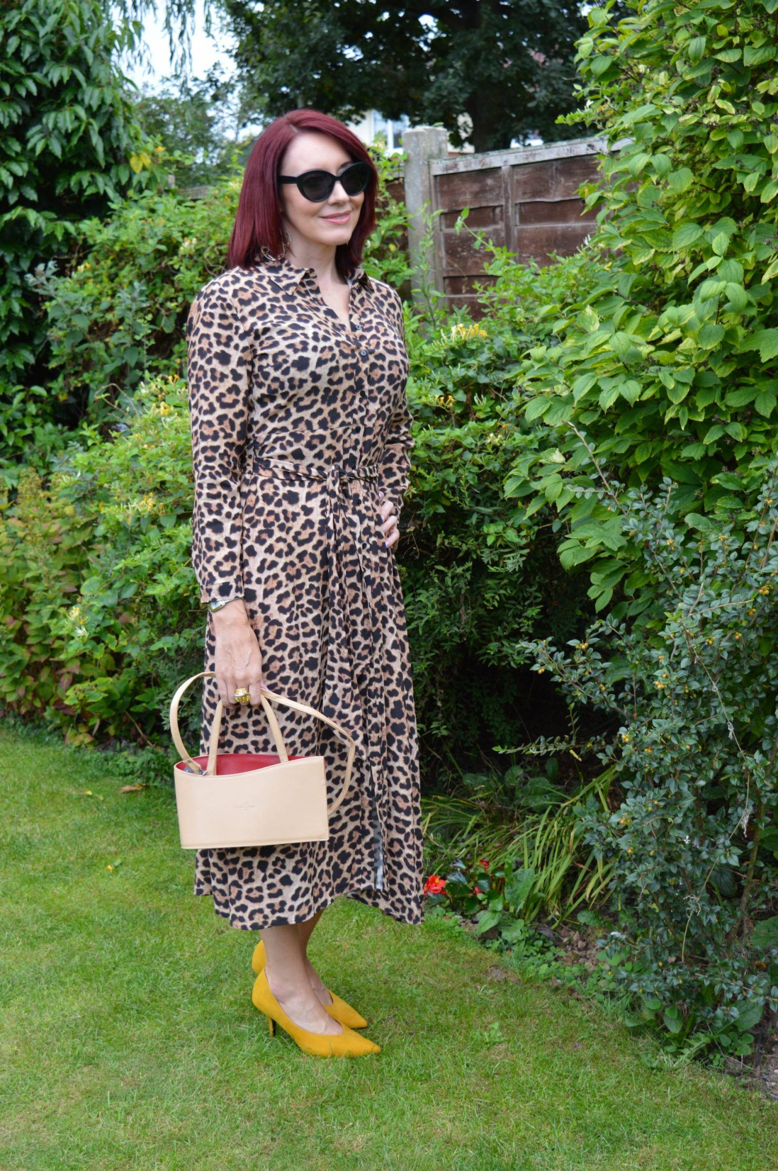 18bb6a3ea126 Zara leopard print shirt dress, Marks & Spencer ochre high cut court shoes