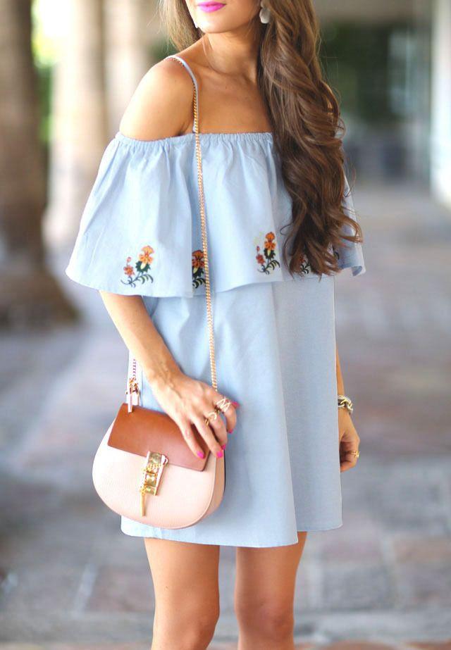 a3ce195ba10e Summer Light Blue off the Shoulder Dress