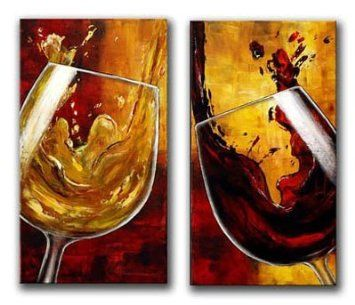 Amoy Art 2 Piece Wine Cheers Still Life Oil Painting Wall Art