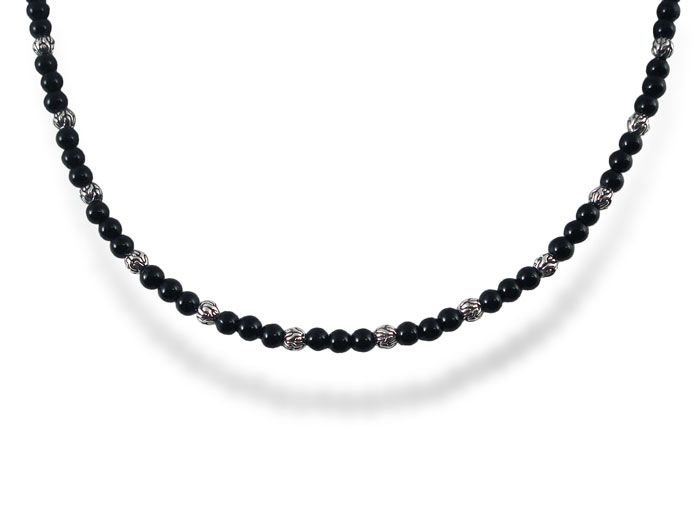 John Hardy Mens Classic Chain Sterling Silver Necklace with Onyx Beads x7LhNARW