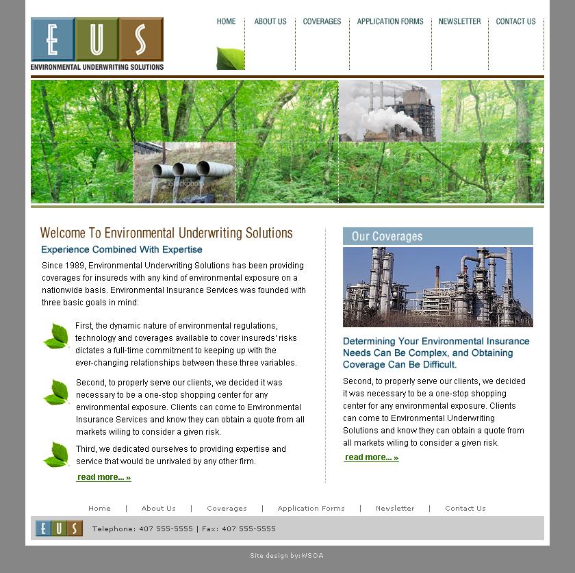 Environmental Underwriting Solutions Underwriting Environment Application Form