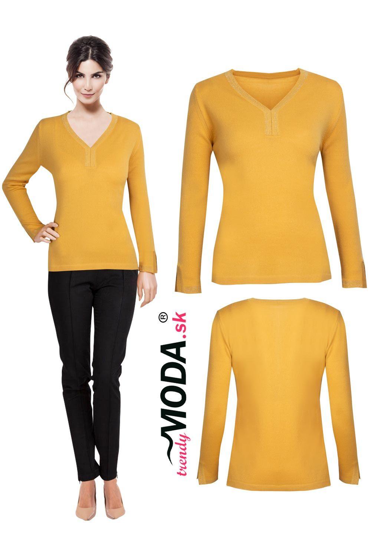 cb30fca061c8 Elegantný žltý dámsky pletený pulóver vo veľkostiach i pre moletky ...