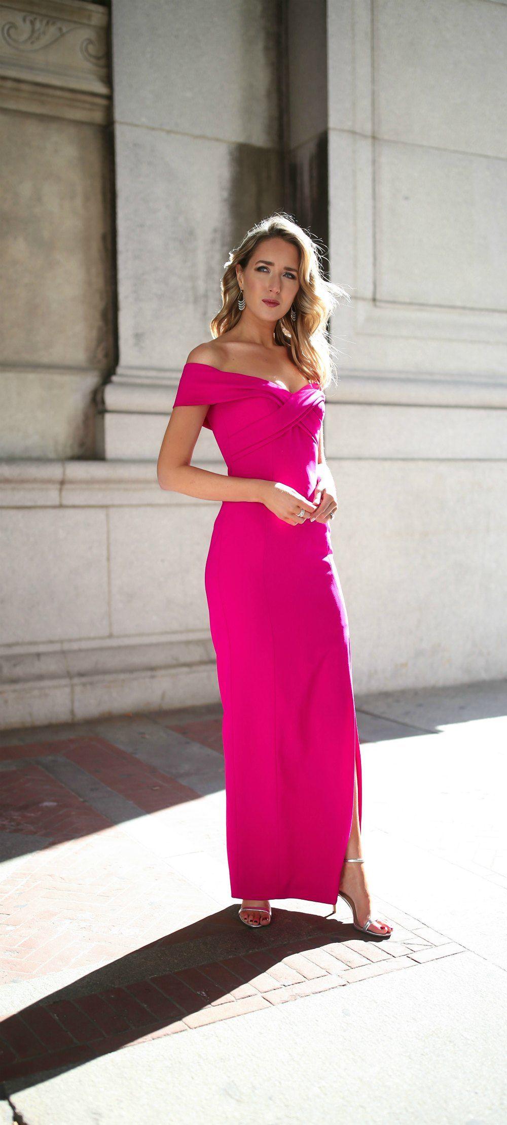 What To Wear To A Black Tie Wedding Floor Length Fuschia Pink Formal Gown With Off Black Tie Wedding Attire Black Tie Wedding Guest Dress Black Tie Wedding [ 2217 x 1000 Pixel ]