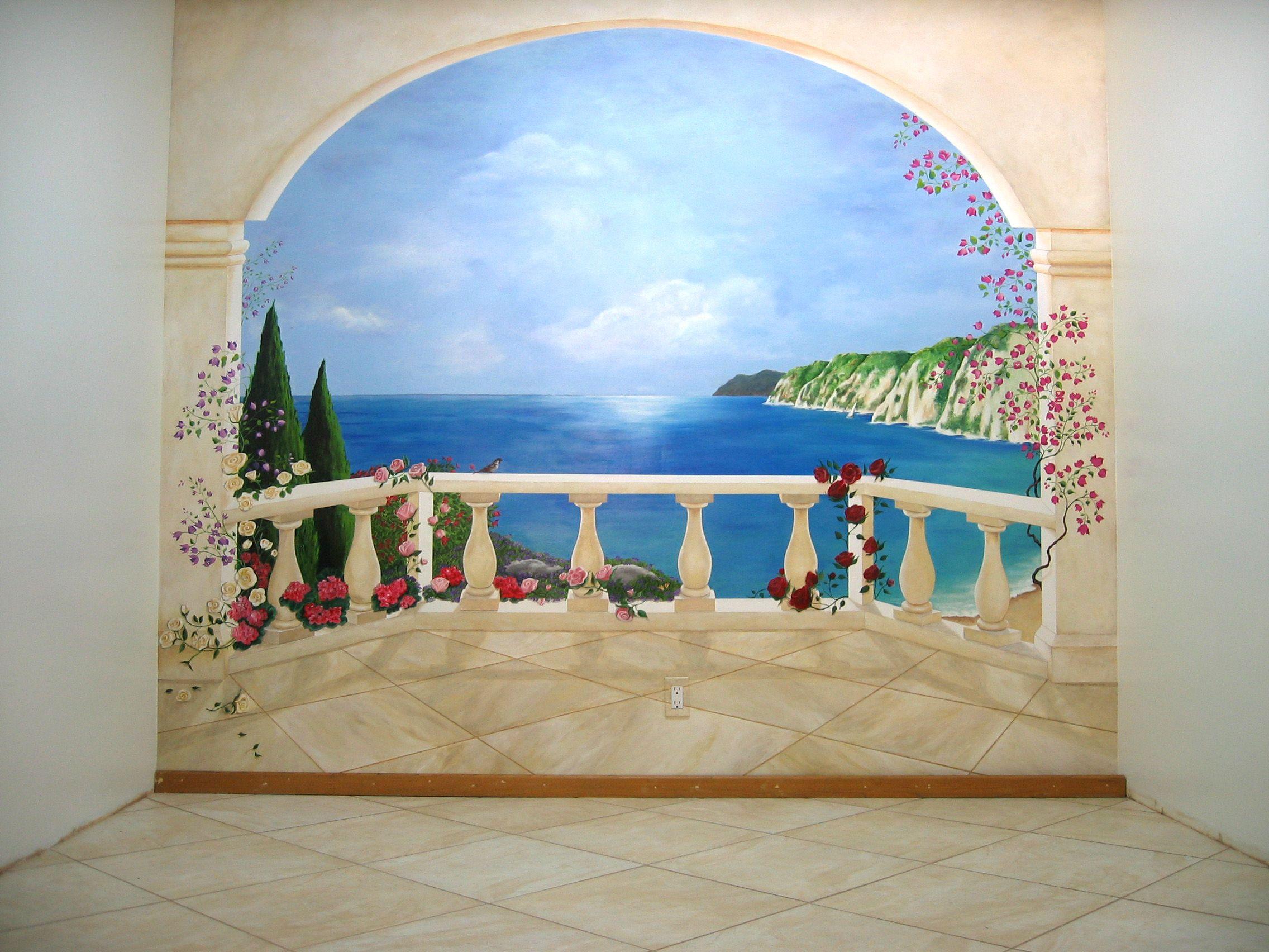 Oeil trompe wall mural trompe loeil curtains wall murals Poster mural trompe oeil
