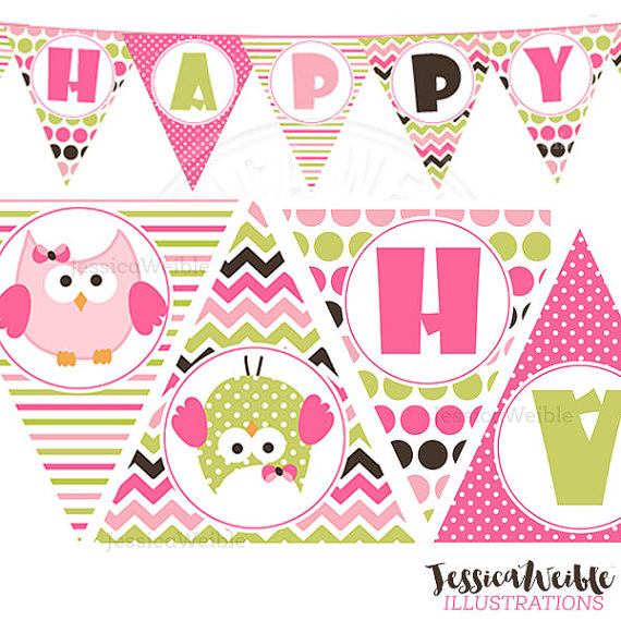 Birthday Girl Owl Printable Party Banner by jessicasprints on Etsy