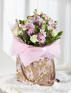 Rose Lisianthus Gift Bag Peony Rose Fresh Flower Bouquets