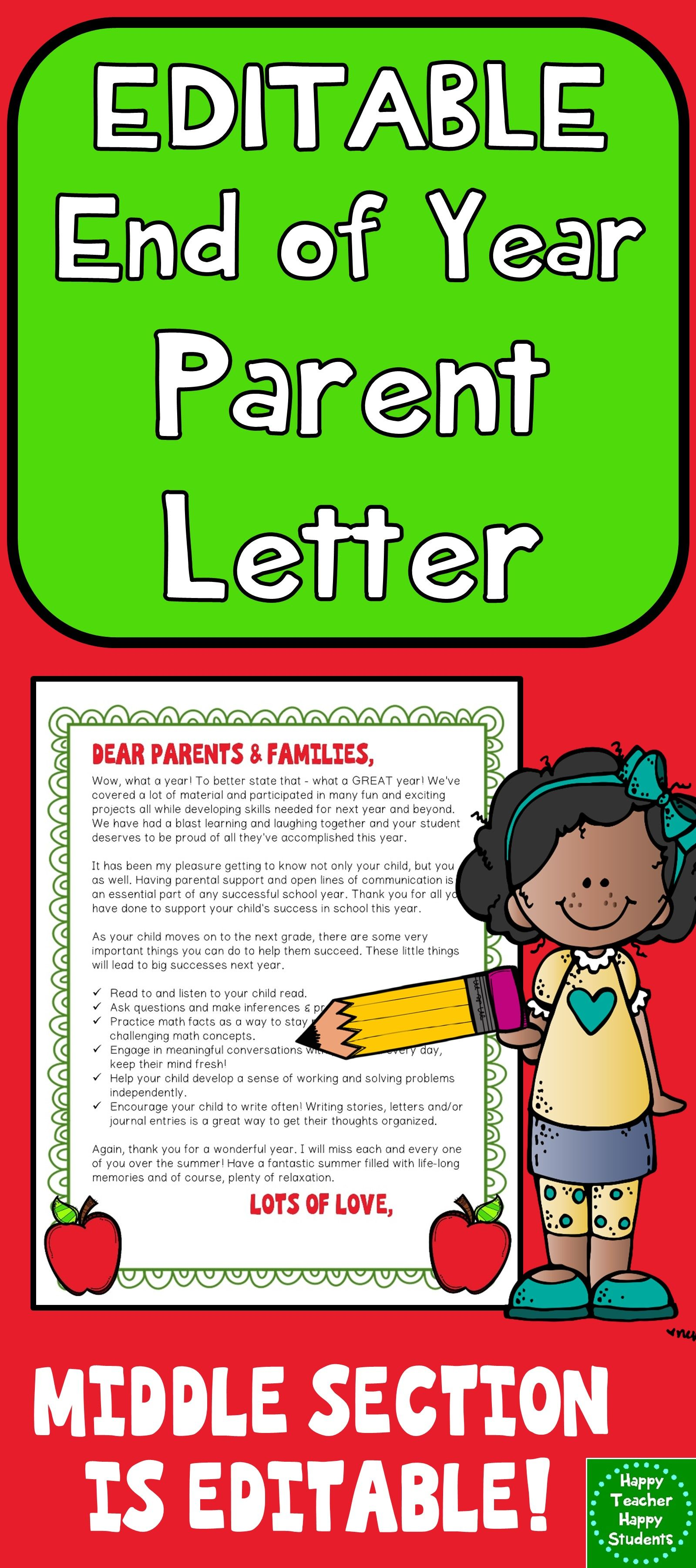 Editable End Of Year Letter For Parents Color Amp Black