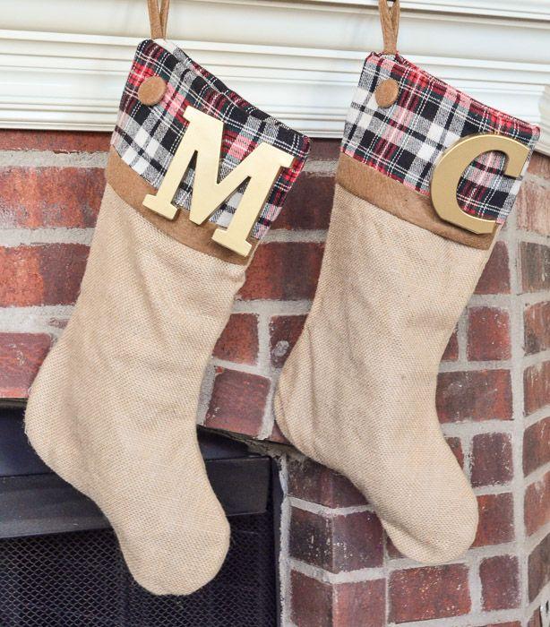 Plaid Christmas Stockings {No Sew Semi-DIY | Burlap stockings ...