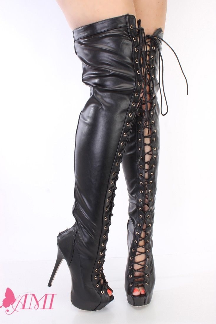 Black Lace Up Thigh High Platform Boots Faux Leather | High boots ...