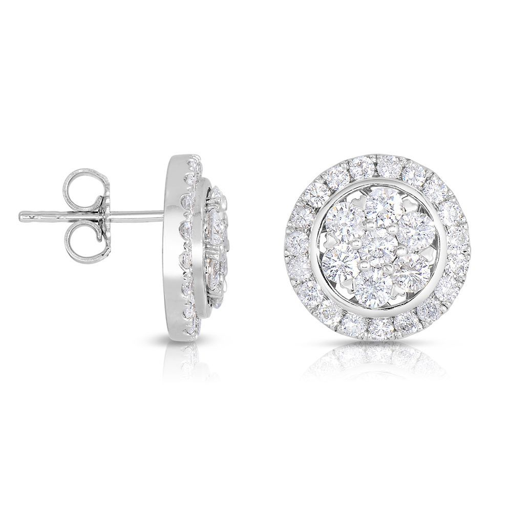 Eloquence 14k Gold 2 1/5ct TDW Diamond Stud Earrings