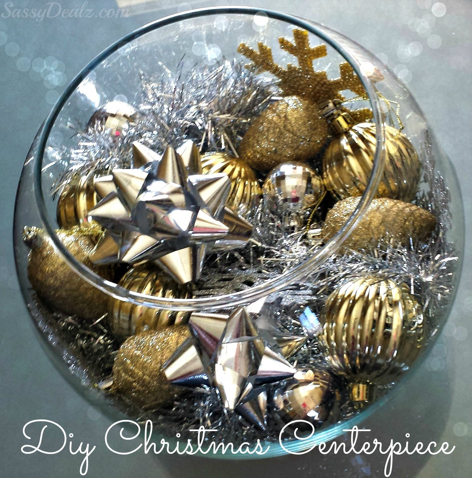 Diy Silver Gold Christmas Fish Bowl Centerpiece On A Budget Crafty Morning Christmas Centerpieces Diy Christmas Centerpieces Gold Christmas