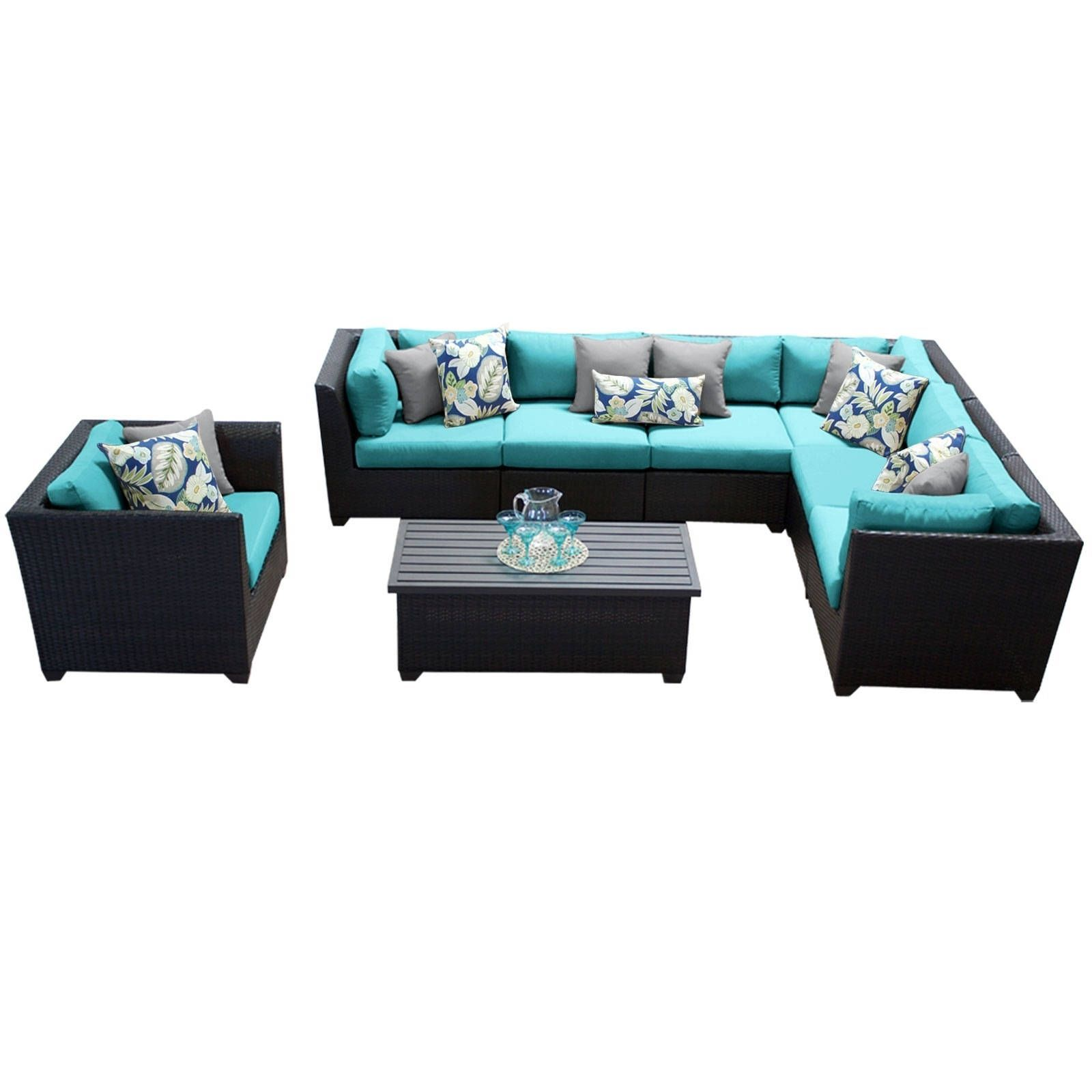 luxurypatio modern rattan tommy bahama outdoor furniture. Meridian 8 Piece Outdoor Patio Wicker Sectional With Arm Chair And Storage Table (Turquoise) Luxurypatio Modern Rattan Tommy Bahama Furniture M