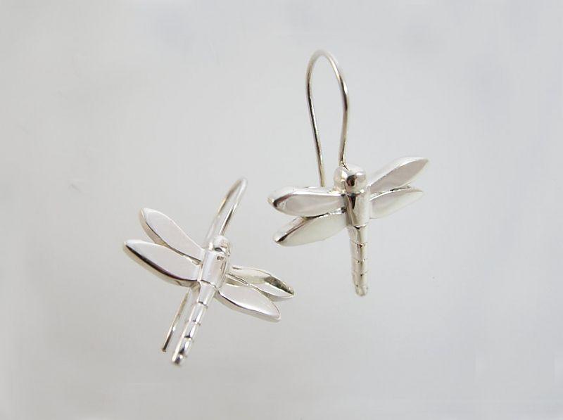 Sterling Silver Dragonfly Drop Earrings Bespoke Jewellery Jewellers Worthing Nomination Bracelet