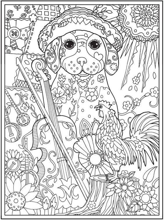раскраска антистресс собака | Книжка-раскраска, Раскраски ...