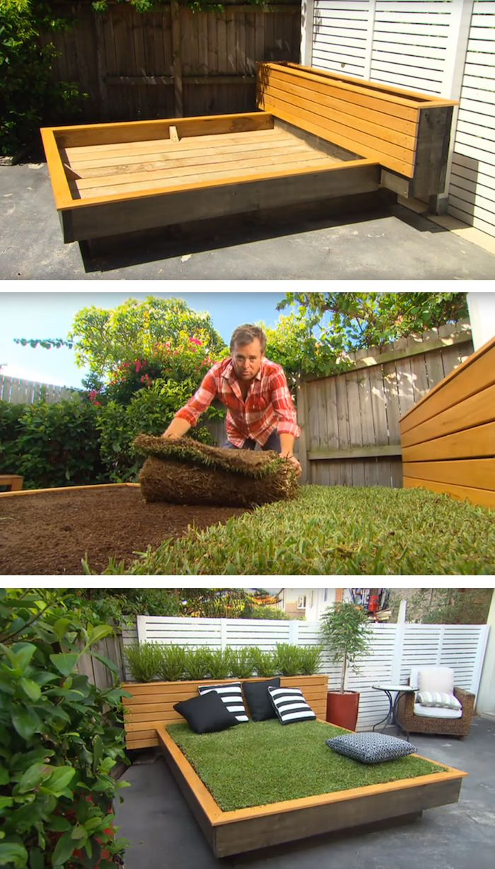 A DIY grass bed offers a cozy