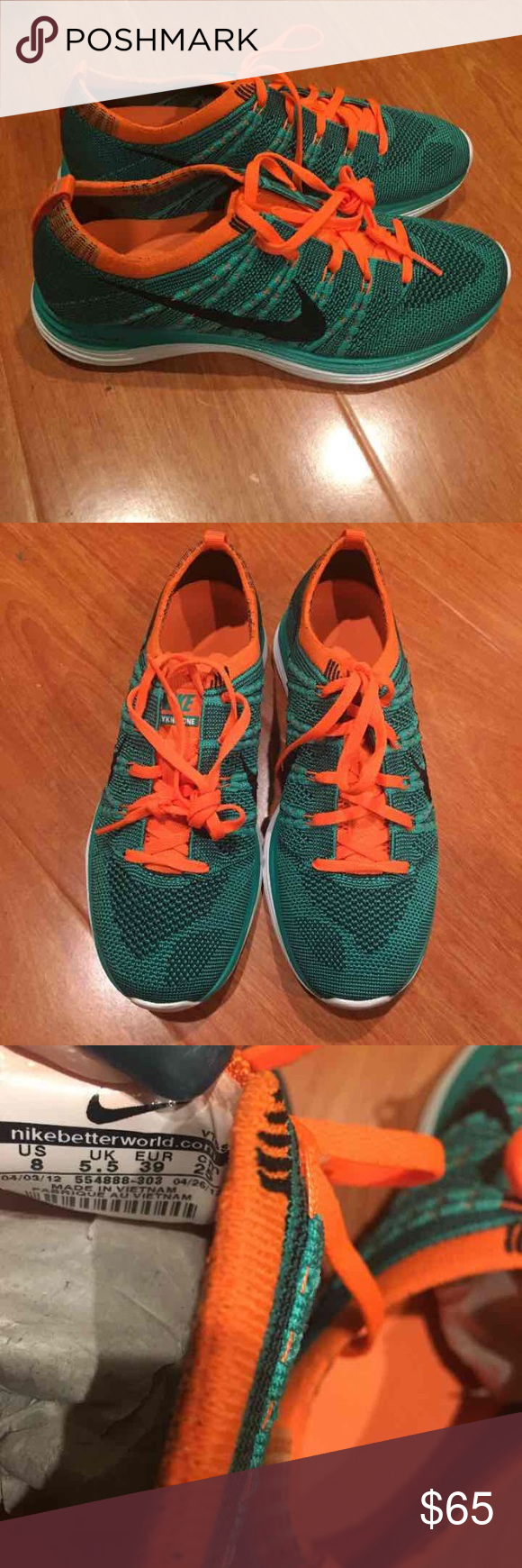 Nike fly knit Fly knit one. Teal and orange. Never worn! Size women's 8! Nike Shoes Athletic Shoes