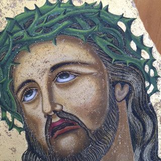 Jesus Christ/Hand painted byzantine icon on natural stone by Vangelosartandcraft on Etsy