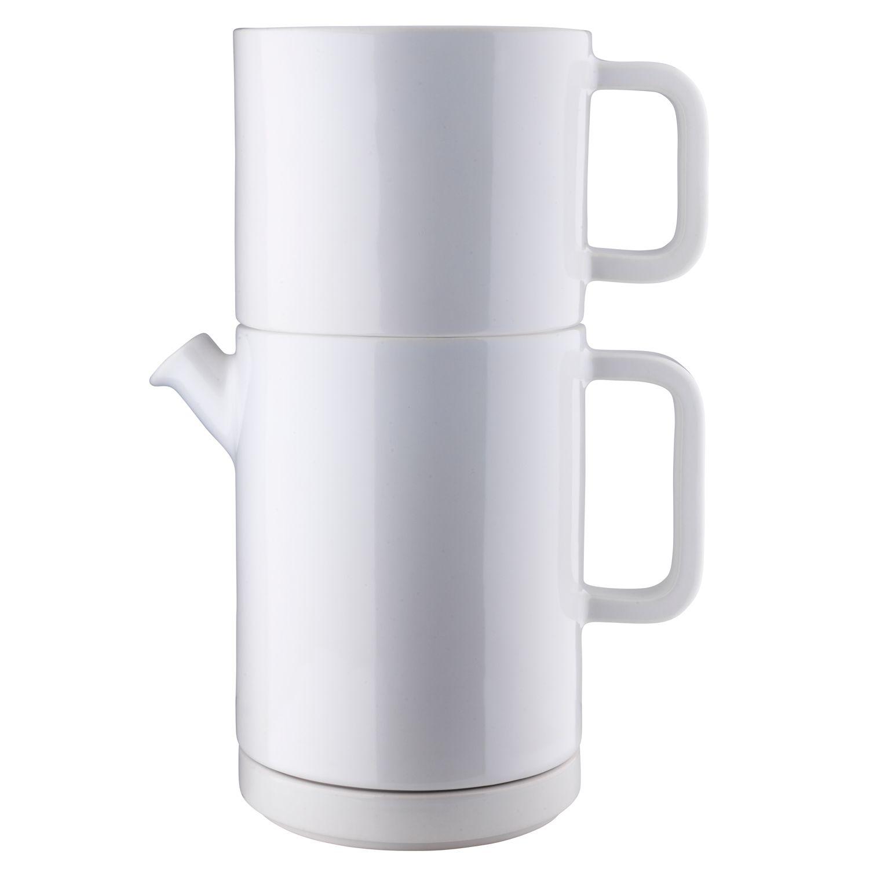 Café kahvikannu, keitin & asetti L, valkoinen/valkoinent – Design: Kristina Stark