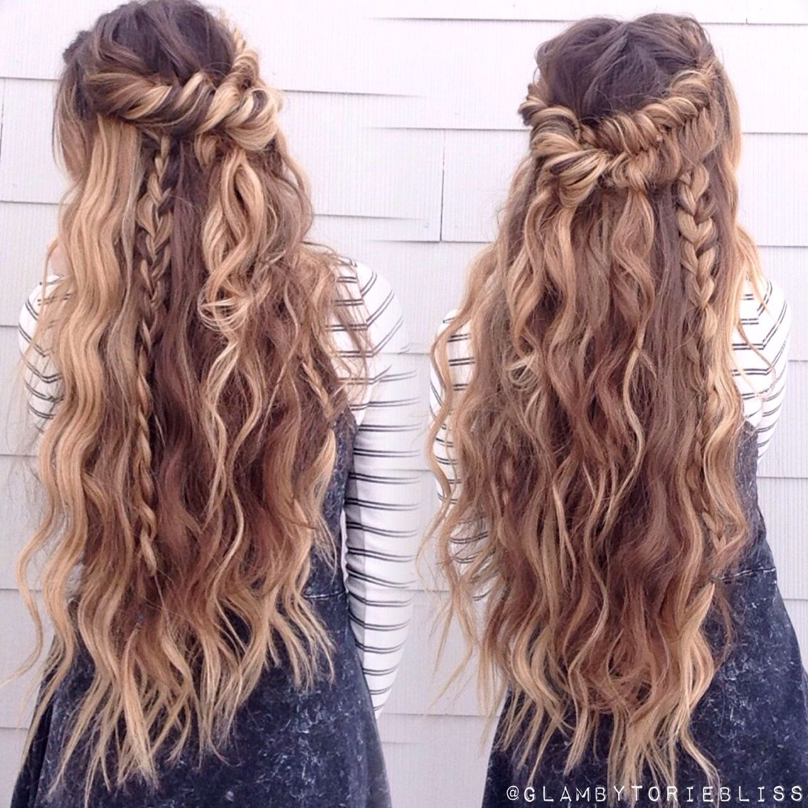 Wedding Hairstyles Boho: Boho Mix Of Textured Braids + Beachy Waves