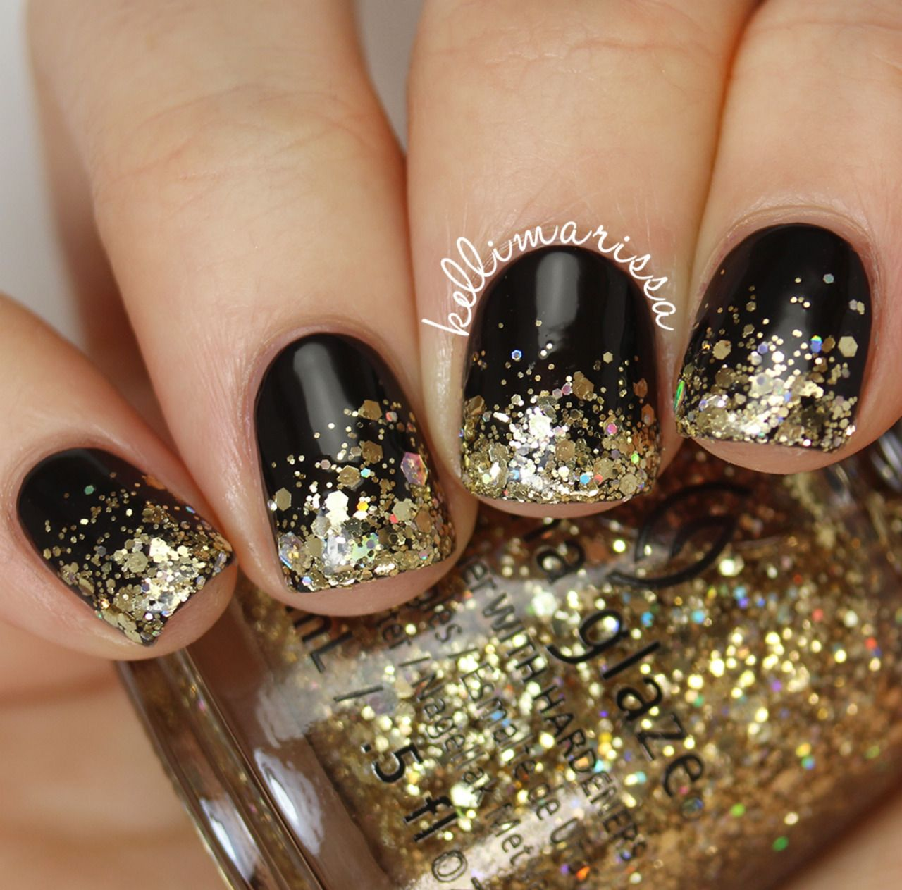 New years eve nails tumblr nail art community pins pinterest glod sequins tipped nail art for short nails prinsesfo Gallery