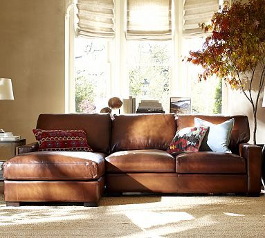 Turner Square Arm Leather Right Arm Sofa with Chaise Sectional, Down ...