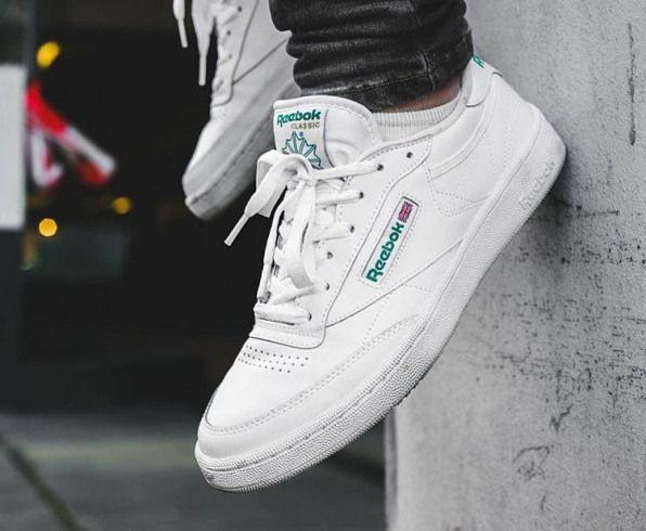 reebok club c 85 white green