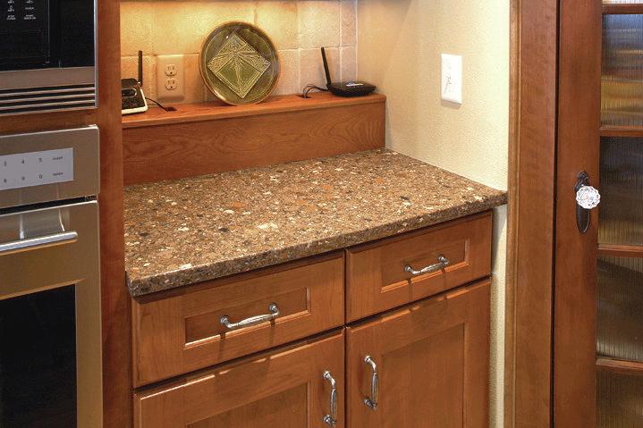 Mail Handler Including A Paper Shredder In The Kitchen Desk Area