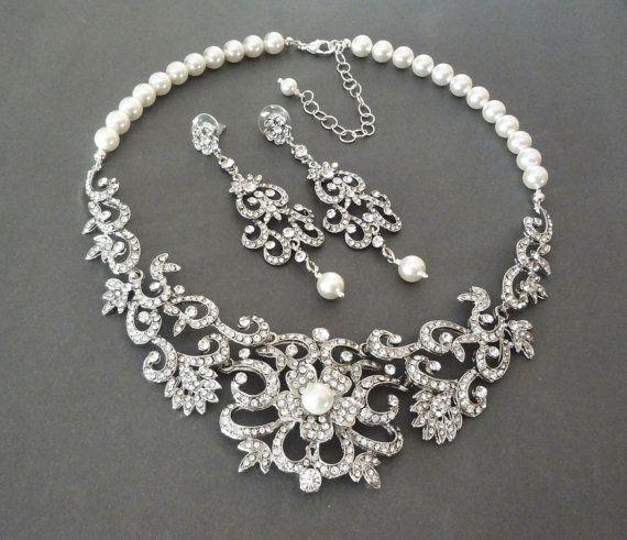 Bridal jewelry set Swarovski crystal and pearl jewelry set