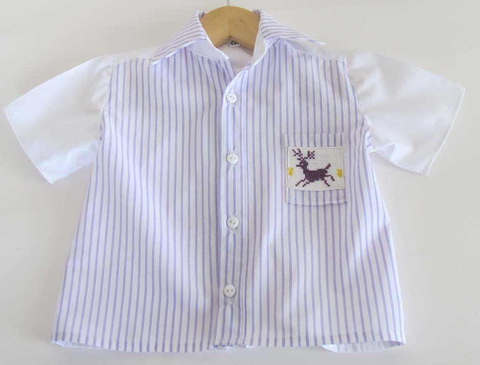 Camisa niño algodón/poliester con bordado artesanal mexicano
