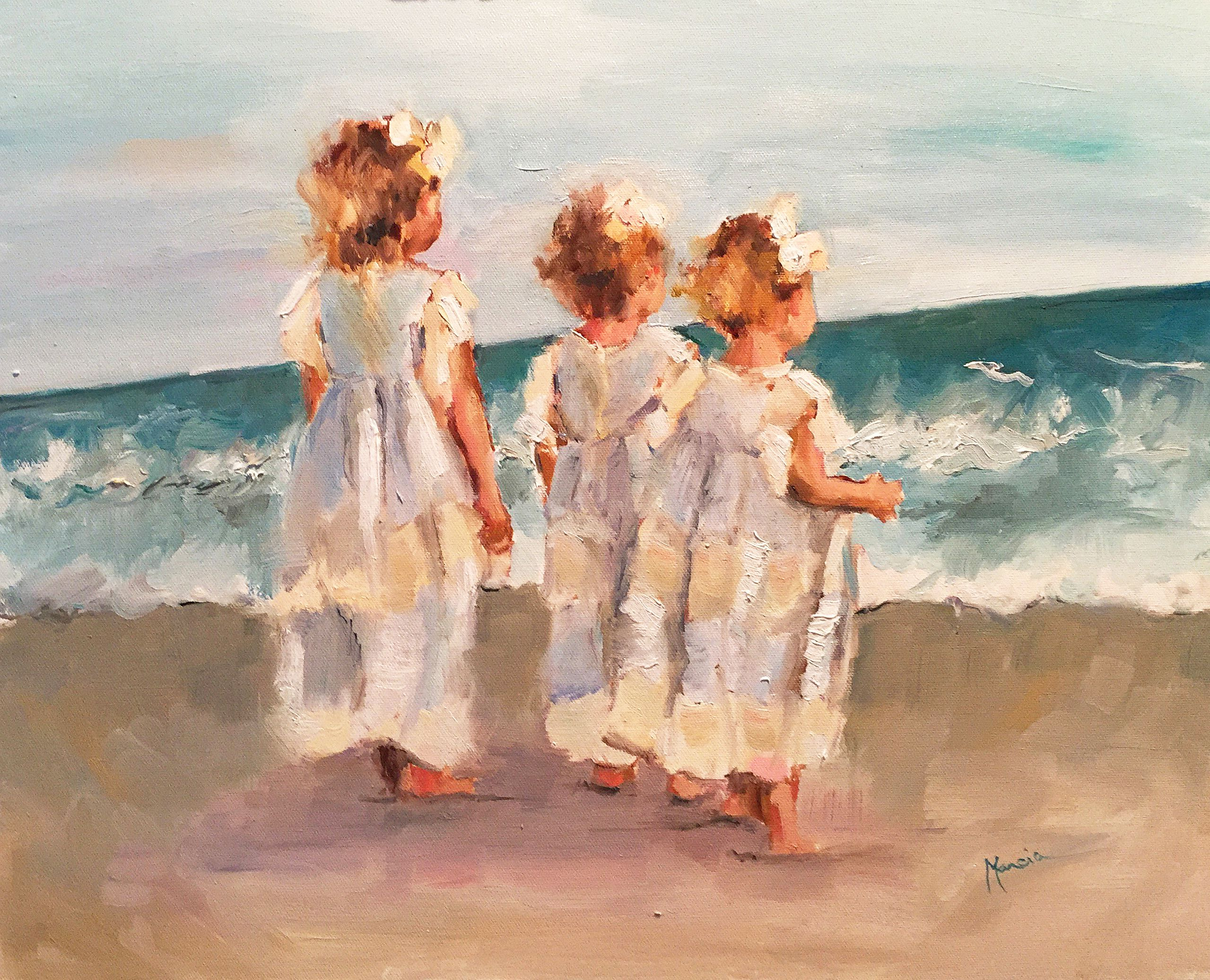 Sisters  Impressionistic Beach Painting, Little Girls, Original Oil