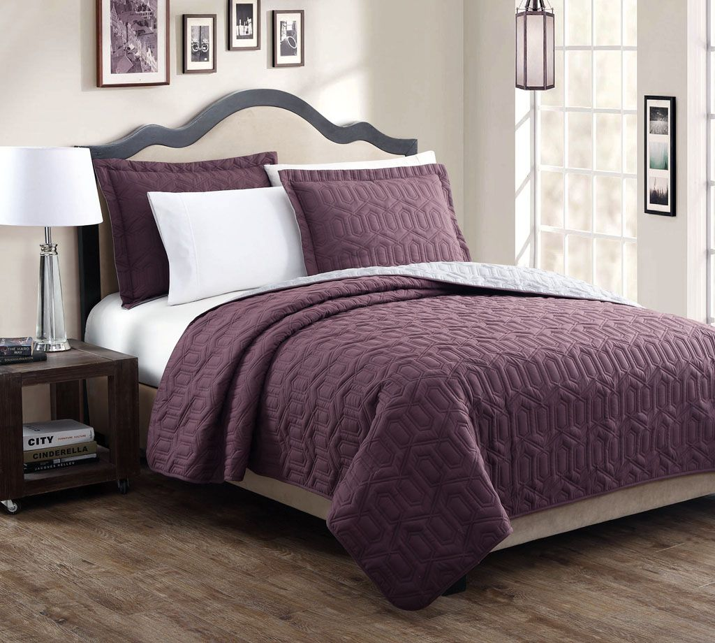 Stenson Red/Stone Reversible Bedspread/Quilt Set BUY FOR LESS THAN ... : plum quilt - Adamdwight.com