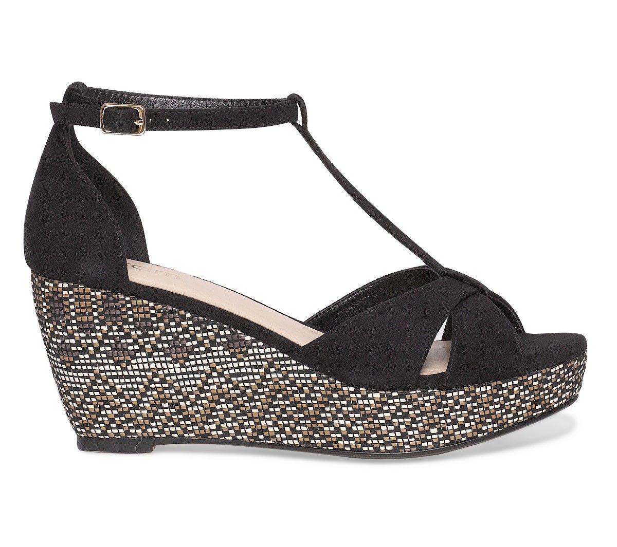 sandale compensée ethnique noire - sandales talon - chaussures