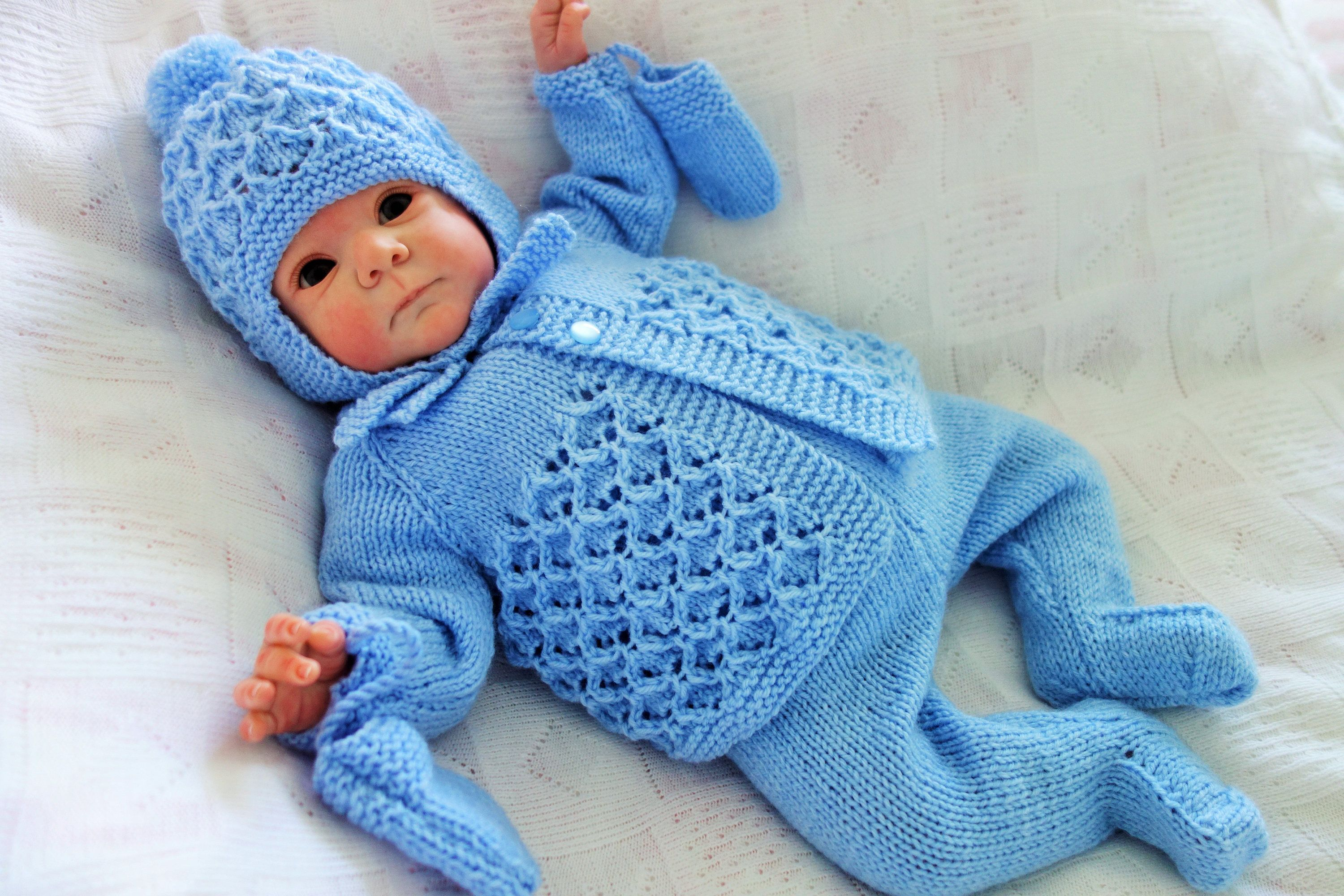 9c7d122bf Traditional hand knitted baby pram set comprising matinee style coat ...