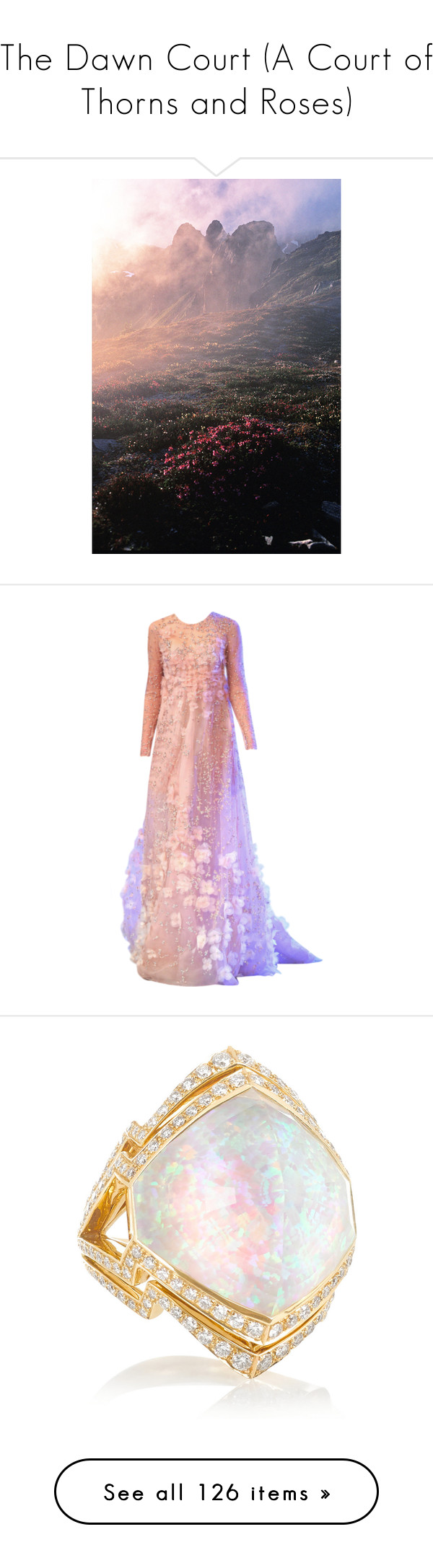 """""""The Dawn Court (A Court of Thorns and Roses)"""" by thestars-themoon ❤ liked on Polyvore featuring pictures, backgrounds, images, photos, nature, dresses, gowns, long dress, edited and pink evening dress"""